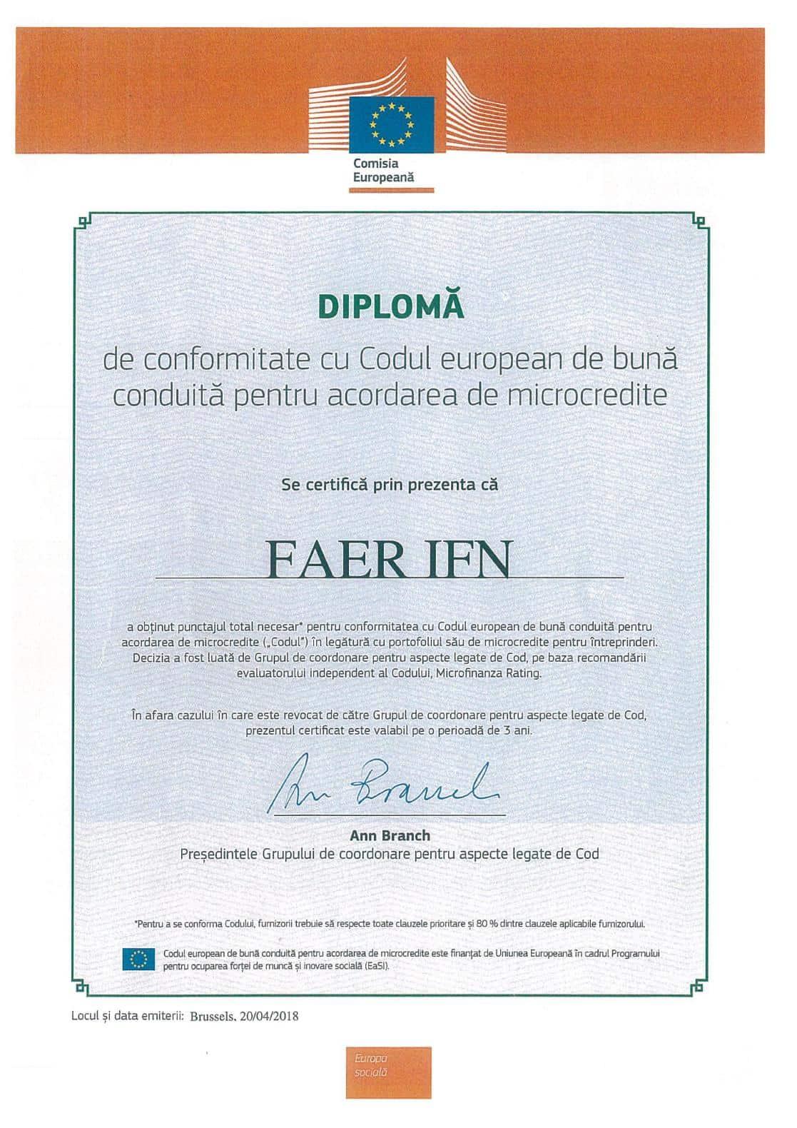 Diploma de conformitate cu Codul European de buna conduita